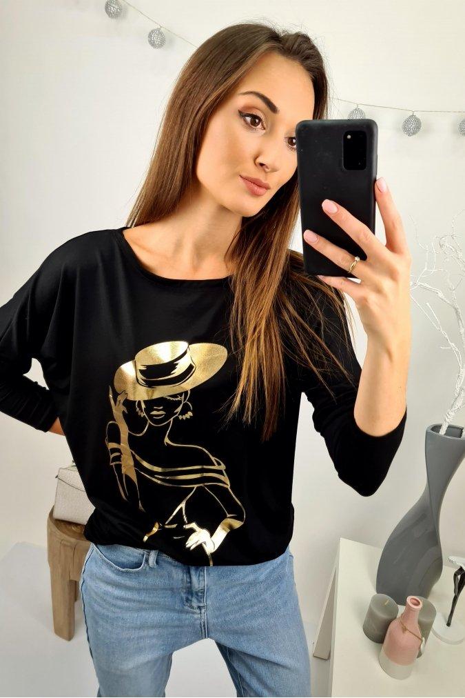 Czarna-bluzka-damska-plus-size-xl-xxl-Gold-Lady-nietoperz-modna-wygodna
