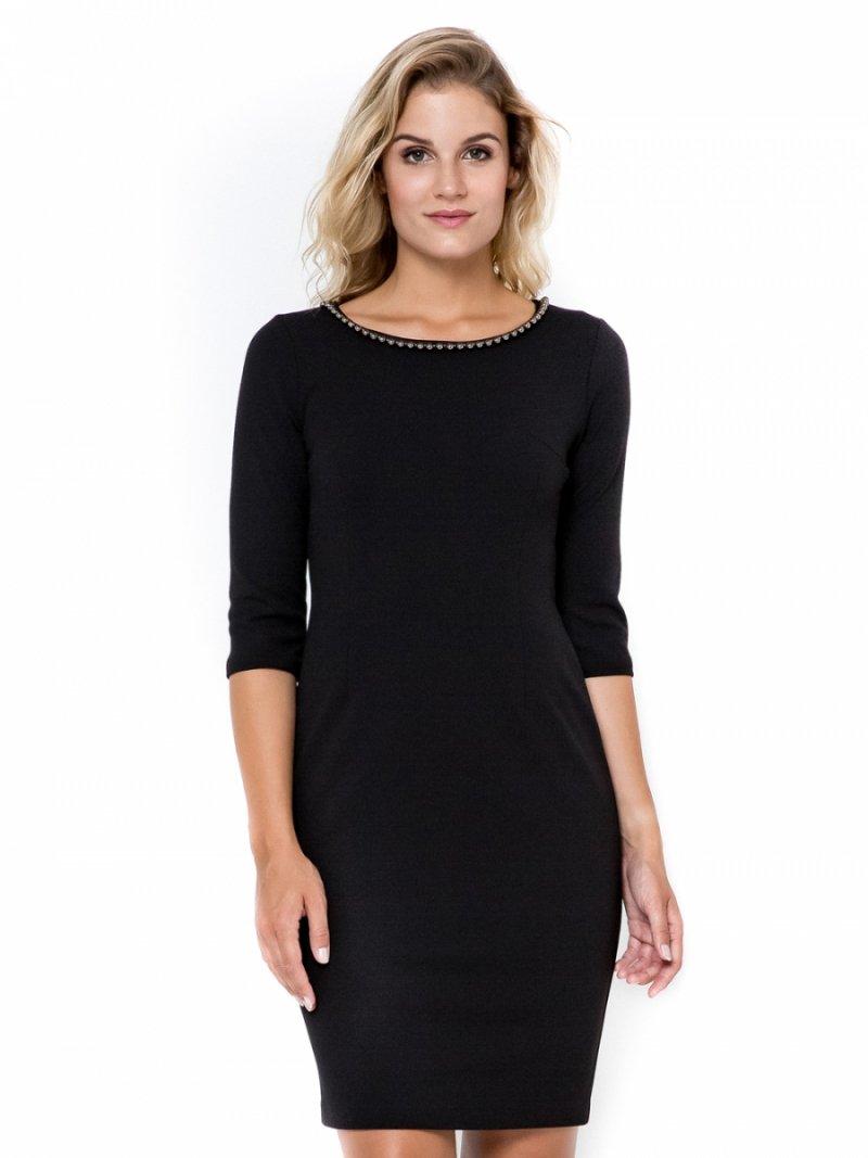 Elegancka-sukienka-xxl-czarna-sukienka-plus-size-XL-ołowkowa-perelki-na-wesele-chrzest-do-biura