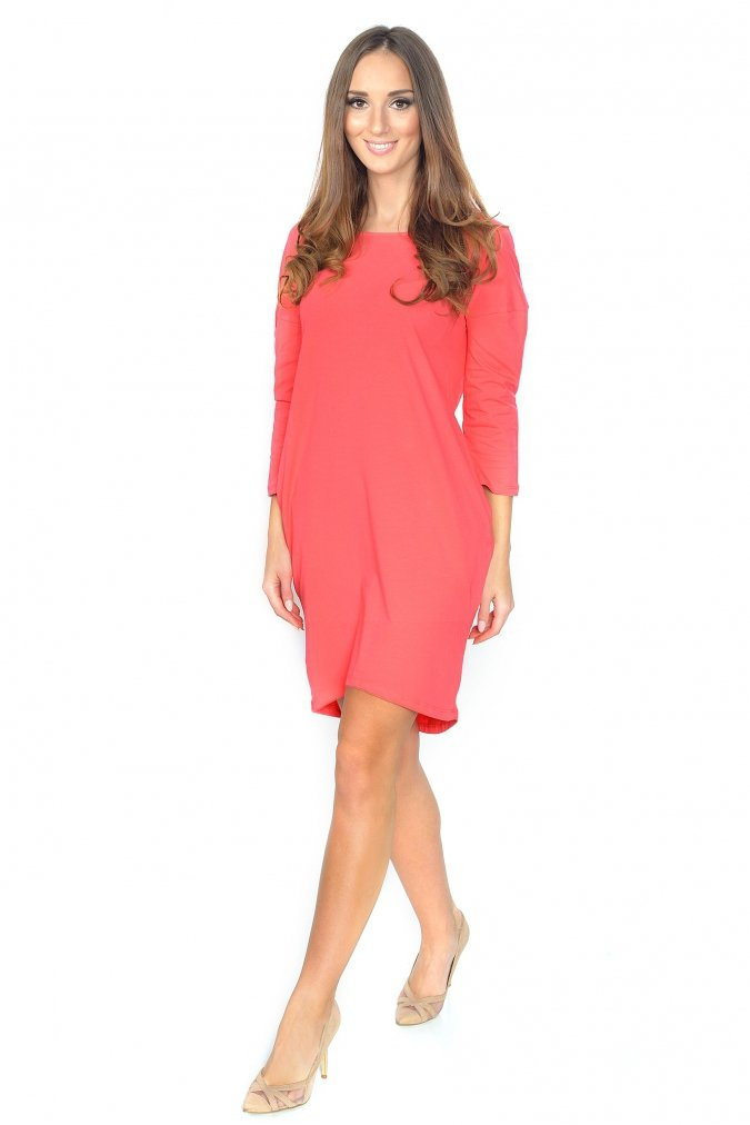 Sukienka-plus-size-S-M-L-XL-XXL-3XL-ANGEL-dekolt-mlodziezowa-modna-koral-koralowa-napis-dla-puszystych
