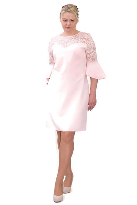 8ef2f0cc85 Elegancka sukienka XXL 40-60 na wesele PAOLA pudrowy róż - XELKA ...