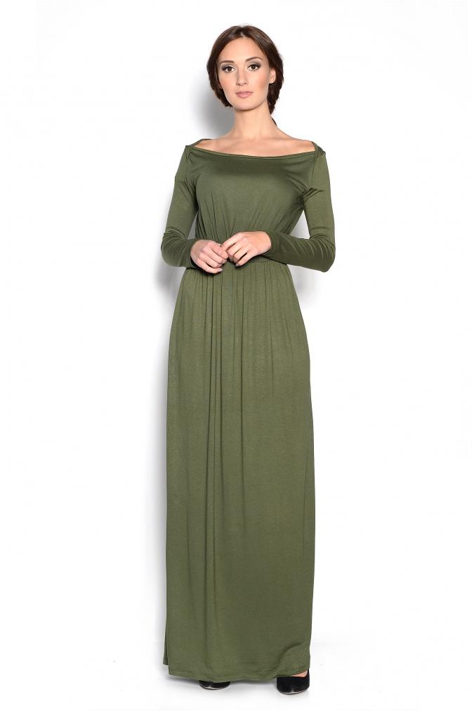 Elegancka-sukienka-XXL-plus-size-MAJA-S-M-L-XL-XXL-XXXL-długa-khaki-zielona-dla-puszystych