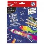 Kredki ołówkowe trójkątne grube 14 kolorów + ołówek i magiczna kredka KIDEA (KTG14OKMKA)