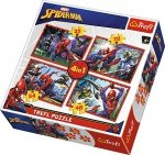 TREFL Puzzle 4 w 1 Spiderman, W sieci Spider-Mana (34293)