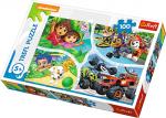 TREFL Puzzle 100 el. Dora i przyjaciele, Psi patrol, Bąbelkowy świat gupików, Blaze i Megamaszyny - Jedna drużyna  (16332)