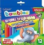 Kredki w oprawie drewnianej trójkątne BAMBINO 12 kolorów + temperówka (02892)
