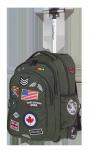 Plecak szkolny młodzieżowy na kółkach COOLPACK JUNIOR zielony w znaczki, BADGES GREEN