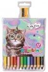 Kredki BAMBINO w oprawie drewnianej 12 kolorów + temperówka My Little Friend CAT Kotek (28153)