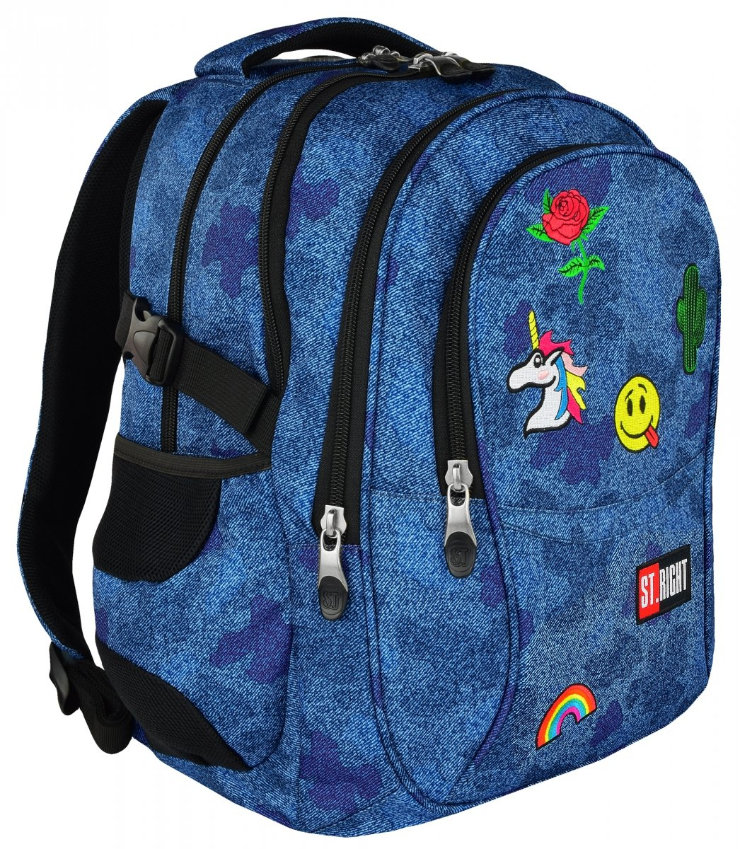 320121d03b2fd Plecak szkolny młodzieżowy ST.RIGHT dżinsowy w naszywki, JEANS & BADGES  BP1 (
