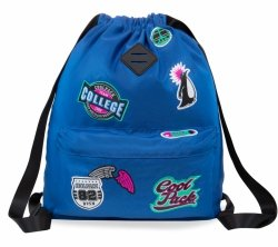 Plecak Sportowy Worek na sznurkach CoolPack URBAN niebieski w znaczki, GIRLS BADGES DENIM (B73057)