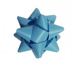 Rozetka wstążka do pakowania prezentów JASNONIEBIESKA matowa 8,5 cm (97203)