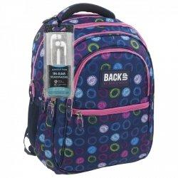Plecak szkolny młodzieżowy Back UP kolorowe okręgi DRAWN CIRCLES + słuchawki (PLB1B18)