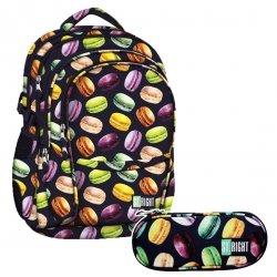ZESTAW 2 el. Plecak szkolny młodzieżowy ST.RIGHT w makaroniki, MACARONS BP1 (21802SET2CZ)