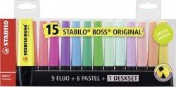 Zakreślacz Boss zestaw 15 kolorów STABILO (7015-01)