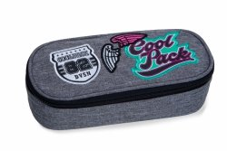 Piórnik CoolPack CAMPUS szary w znaczki, GIRLS BADGES GREY (B62058)