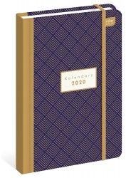 Kalendarz książkowy B6 ORNAMENT Granatowy pozłacany 2020 (73260)