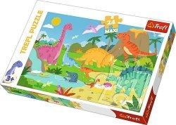 TREFL Puzzle MAXI 24 el. W świecie dinozaurów (14284)