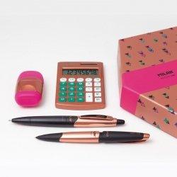 ZESTAW UPOMINKOWY  MIEDZIANY kalkulator długopis ołówek temperówka gumka (08739)