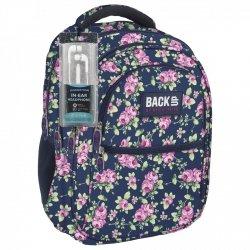Plecak szkolny młodzieżowy Back UP róże na granatowym tle ROSE GARDEN + słuchawki (PLB1B13)