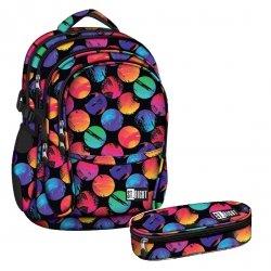 ZESTAW 2 el. Plecak szkolny młodzieżowy ST.RIGHT w kolorowe koła, COLOURFUL DOTS BP1 (17621SET2CZ)