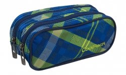 Piórnik dwukomorowy saszetka COOLPACK CLEVER niebieski w zieloną kratę, SPRINGFIELDS (82591CP)