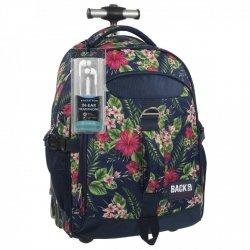 Plecak szkolny młodzieżowy na kółkach Back UP różowe kwiaty na granatowym tle TROPICAL FLOWERS + słuchawki (PLB1K12)