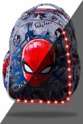 ZESTAW 3 el. Plecak wczesnoszkolny CoolPack LED JOY S Spiderman na szarym tle, SPIDERMAN BLACK (B47303SET3CZ)