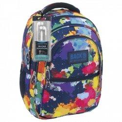 Plecak szkolny młodzieżowy Back UP kolorowe plamy SPLASH + słuchawki (PLB1B19)