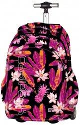 Plecak szkolny młodzieżowy na kółkach COOLPACK JUNIOR czarny w egzotyczne kwiaty TAHITI 603 (67652)