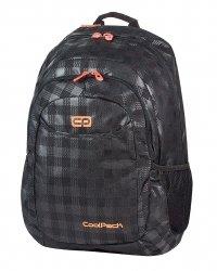 Plecak szkolny młodzieżowy COOLPACK URBAN w czarno szarą kratę BLACK&ORANGE 422 (64316)