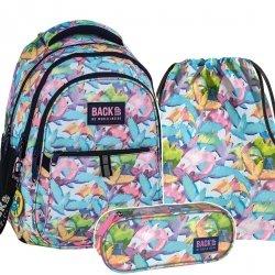 ZESTAW 3 el. Plecak szkolny młodzieżowy BackUP PASTELOWE PTAKI (PLB2N51SET3CZ)