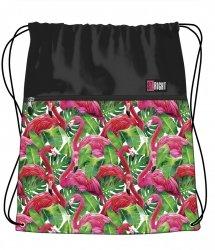Worek na obuwie  w egzotyczne rośliny i flamingi, FLAMINGO PINK & GREEN SO1 (19434)