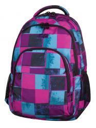 Plecak szkolny młodzieżowy COOLPACK BASIC w niebieskie i różowe kwadraty, PLAID 905 (69359)