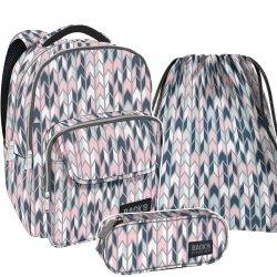ZESTAW 3 el. Plecak szkolny młodzieżowy BackUP ELEGANCKIE ZYGZAKI (PLB2L11SET3CZ)