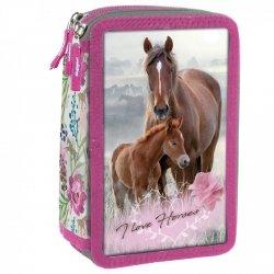 Piórnik trójkomorowy bez wyposażenia I LOVE HORSES Konie (PTKKO18)
