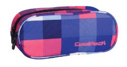 Piórnik dwukomorowy saszetka COOLPACK CLEVER w pastelowe kwadraciki, CUBIC 732 (72885)