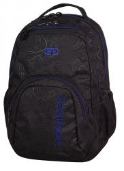 Plecak szkolny młodzieżowy COOLPACK SMASH czarny z niebieskimi dodatkami, TOPOGRAPHY BLUE 984 (71468)