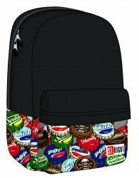 Plecak szkolny ST.RIGHT młodzieżowy Bottle Caps czarny w kapsle BP33 (17492)
