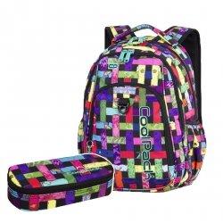ZESTAW 2 el. Plecak CoolPack STRIKE kolorowa przeplatanka, RIBBON GRID + pompon (87889CPSET2CZ)