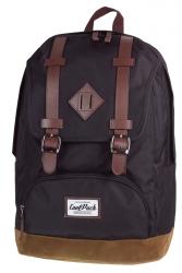 Plecak szkolny, miejski młodzieżowy COOLPACK CITY czarny z brązowymi wykończeniami BLACK&SUEDE 1019 (72182)