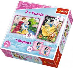 TREFL Puzzle 2w1 + memo Królewna Śnieżka, Zakochana Śnieżka (90603)