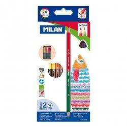 Kredki ołówkowe MILAN dwukolorowe, 12 kolorów trójkątne (07112312)