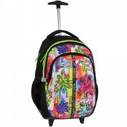 d3f9579509622 Plecak szkolny Młodzieżowy na kółkach czarny w kolorowe wzory DREAM BIG  (BDC997)