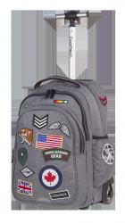Plecak szkolny młodzieżowy na kółkach COOLPACK JUNIOR szary w znaczki, BADGES GREY
