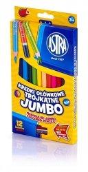 Kredki ołówkowe trójkątne JUMBO 12 kolorów z temperówką ASTRA (312110007)