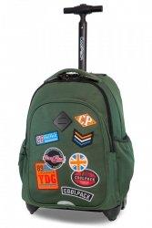 Plecak CoolPack JUNIOR na kółkach zielony w znaczki, BADGES GREEN (B28054)