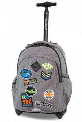 Plecak CoolPack JUNIOR na kółkach szary w znaczki, BADGES GREY (B28052)