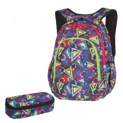 ZESTAW 2 el. Plecak CoolPack PRIME kolorowe wzory geometryczne, GEOMETRIC SHAPES + gratis (85243CPSET2CZ)