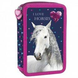 Piórnik z wyposażeniem, dwukomorowy I LOVE HORSES Konie (PWDKO17)