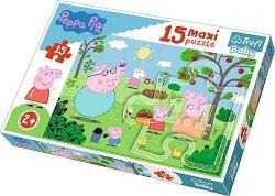 TREFL Puzzle 15 Maxi Peppa w ogrodzie (14282)