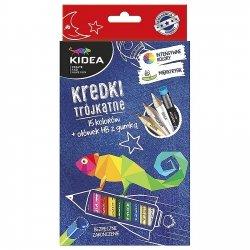 Kredki ołówkowe trójkątne 15 kolorów + ołówek KIDEA (KT15OKA)